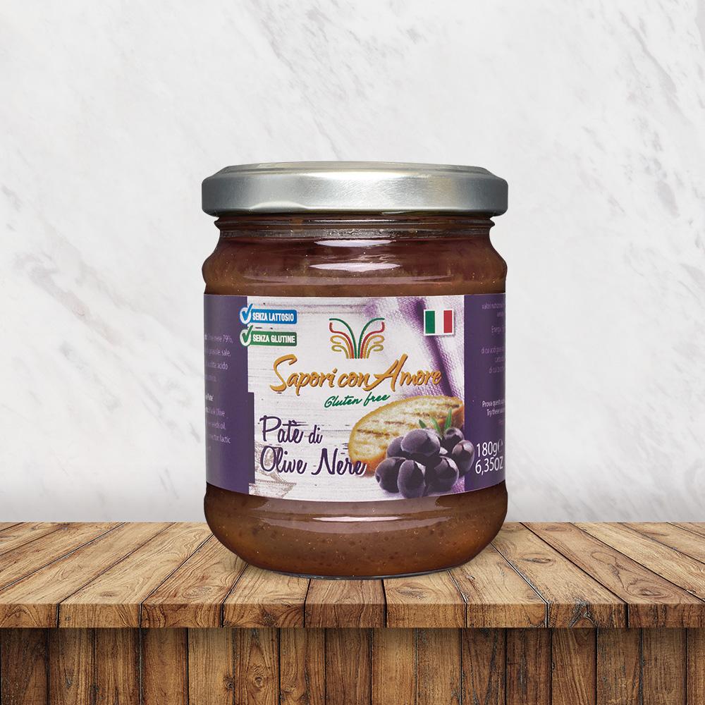 Condimento Senza Glutine Senza Lattosio Patè Olive Nere - Sapori con Amore