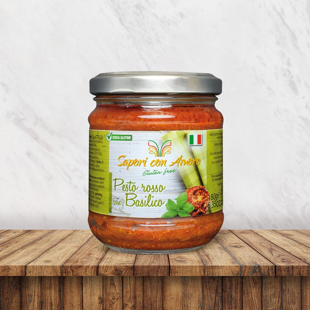 Condimento Senza Glutine Pesto Rosso Basilico - Sapori con Amore