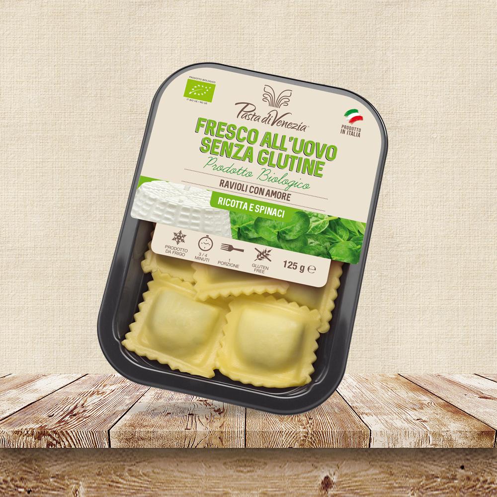 Ravioli ricotta e spinaci senza glutine per celiaci - Pasta di Venezia