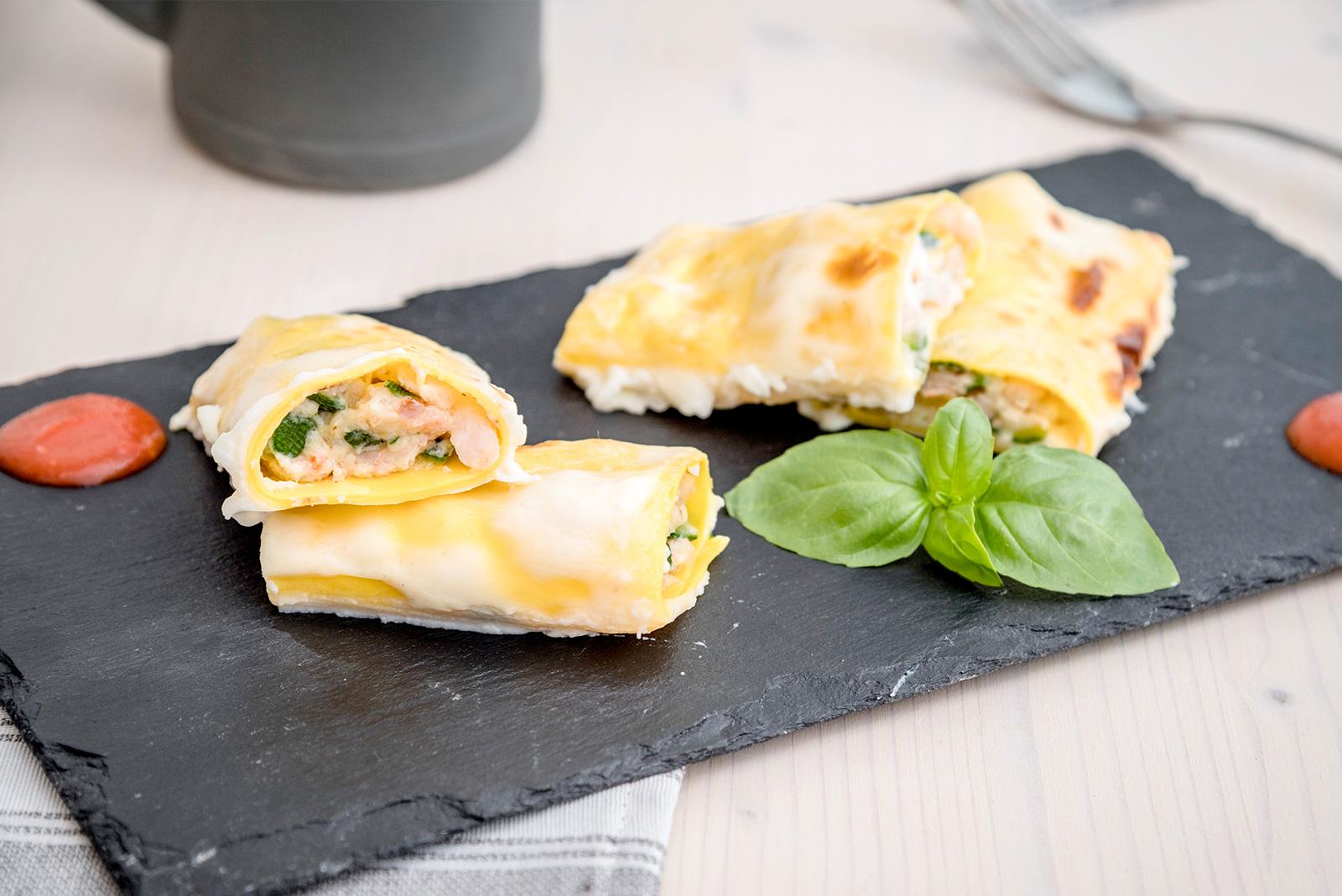 Ricetta Pasta Cannelloni con gamberetti e zucchine al forno Senza Glutine