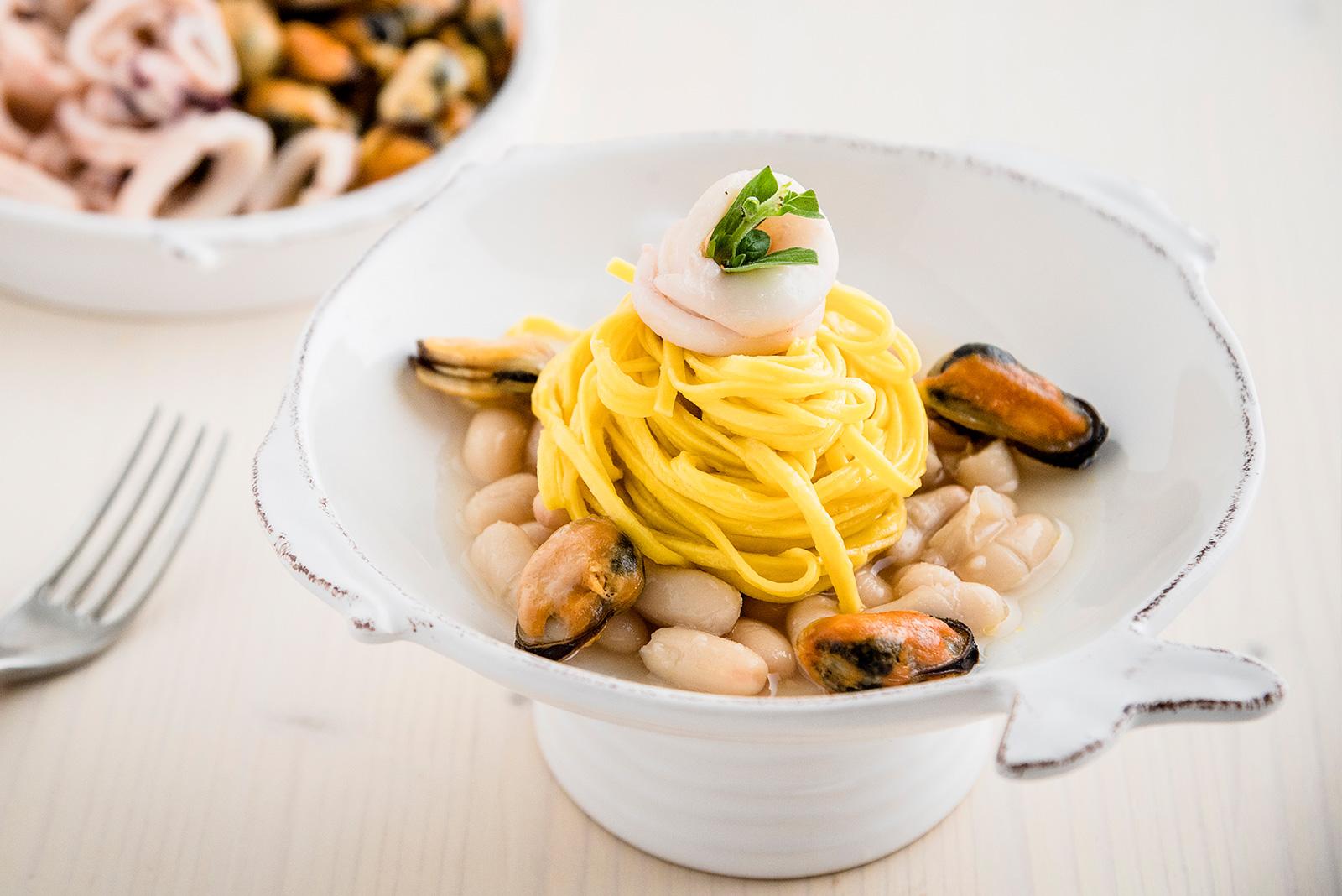Ricetta Pasta Senza Glutine Tagliolini Cozze, Calamari e Fagioli - Pasta di Venezia