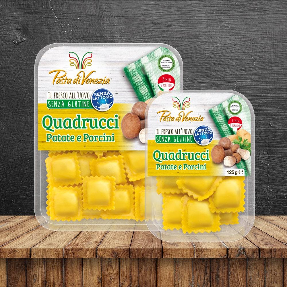 Quadrucci con PAtate e Porcini Senza Glutine e Senza Lattosio - Pasta di Venezia